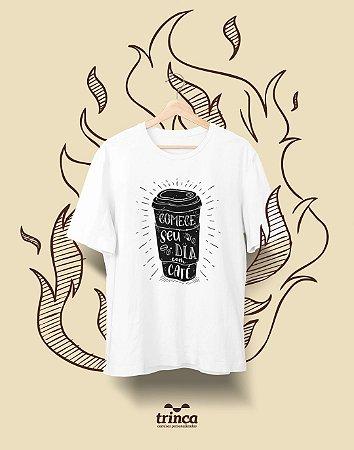 Camiseta Personalizada - Café - Pra Começar Bem - Basic
