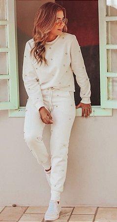 Calça Moletom Bordado Pérolas - Off White