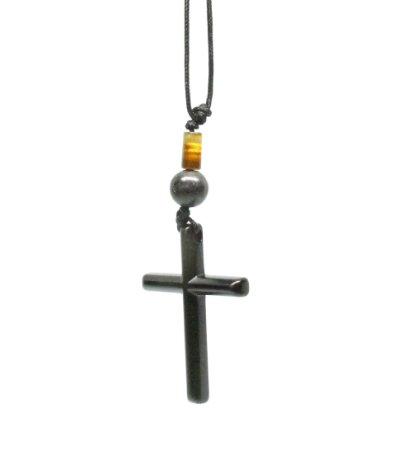 Colar Cordão Masculino Crucifixo Cruz Black Com Pedras Naturais