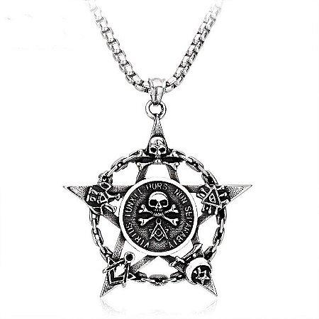Colar corrente Pentagrama com Caveira Skull