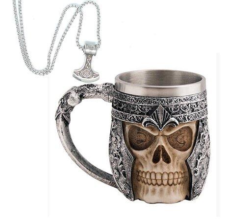 Kit Colar Símbolo Viking martelo Thor + Caneca Viking Skull