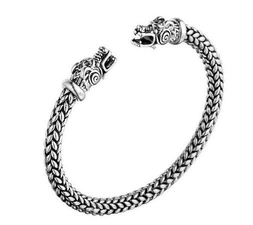 Pulseira bracelete Viking cabeça de Dragão