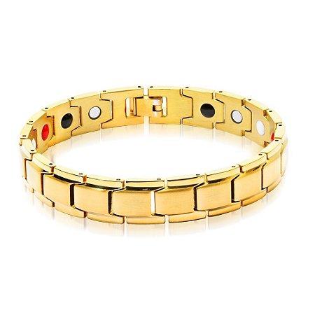 Pulseira Jr Men Magnética Dourada banho em ouro