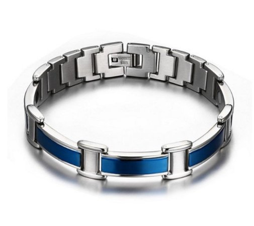 Pulseira Masculina azul magnética antistress em aço inoxidável