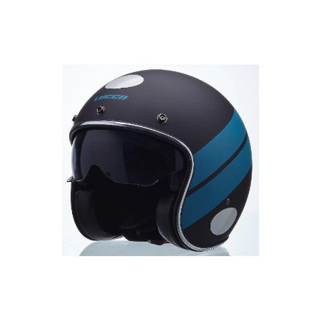 Capacete Lucca Moto Old Sublime Blue Stripe - 2 Viseiras Nf