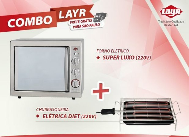 Forno Elétrico Super Luxo Inox 2.4 (220V) + Churrasqueira Elétrica Diet (220V)