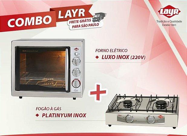 Forno Elétrico Luxo Inox 2.4 (220v) + Fogão à Gás Plantinyum Inox