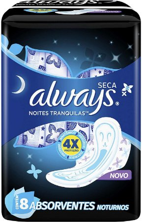 Absorvente Always Noites Tranquilas Seca com Abas 8 unidades