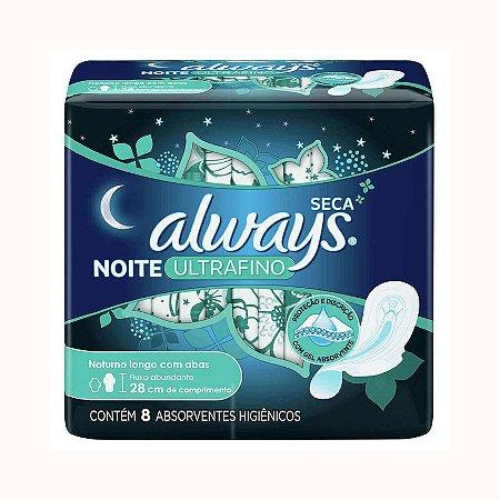 Absorvente Always Ultrafino Noites Tranquilas Cobertura Seca com Abas com 8 unidades
