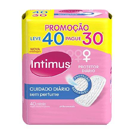 Protetor Diário Intimus Cuidado Diário Sem Perfume Leve 40 Pague 30