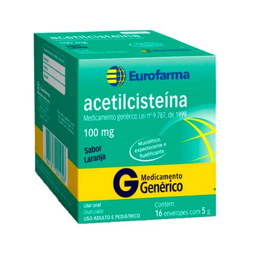 Acetilcisteína 100 mg Eurofarma Sabor Laranja com 16 envelopes de 5g