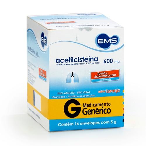 Acetilcisteína 600 mg EMS Sabor Laranja com 16 envelopes de 5g