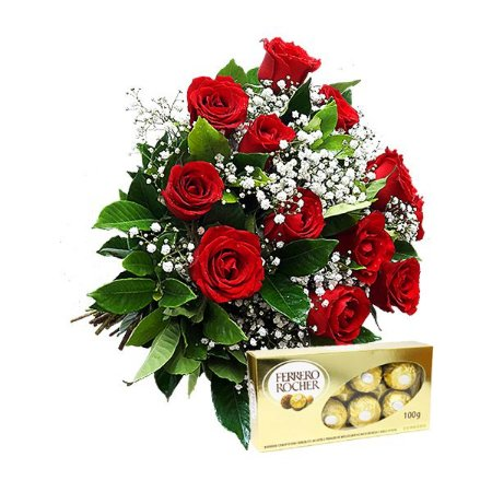 Buquê Clássico 12 Rosas Vermelha com Ferrero Rocher