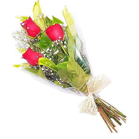 Buquê 3 Rosas Vermelhas presente