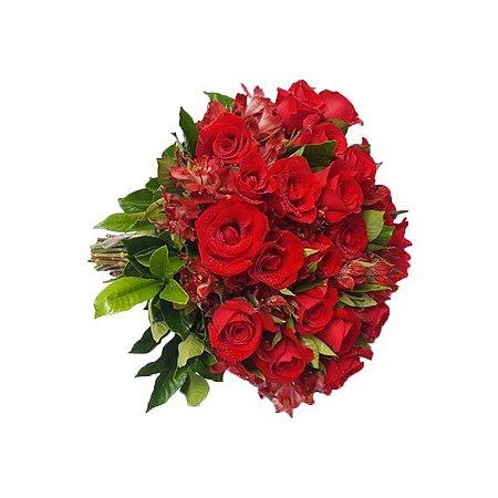 Buquê de Rosas e Astromélias Vermelha