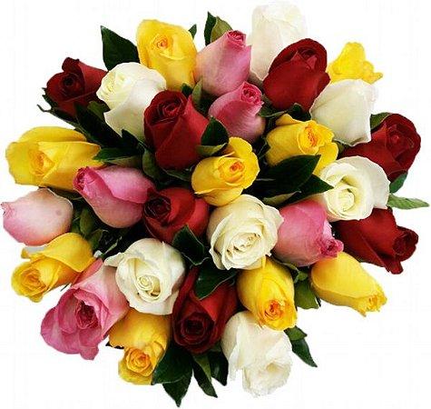 Buquê Especial 24 Rosas Coloridas