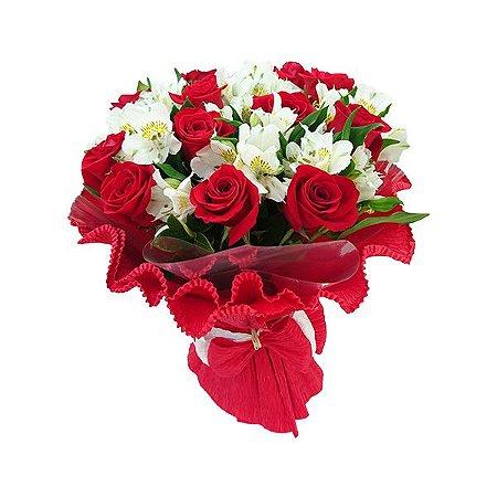 Buquê Especial 12 Rosas Vermelhas