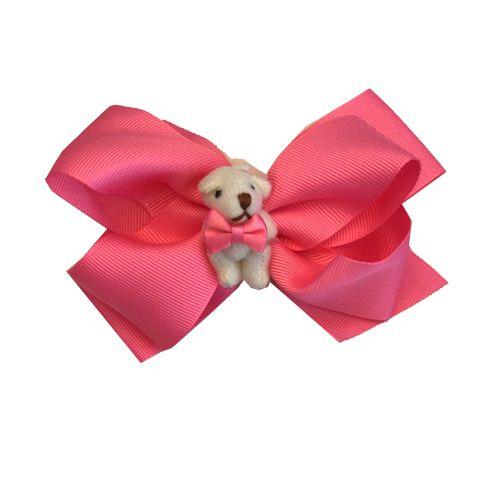 Broche Laço com Urso Pink