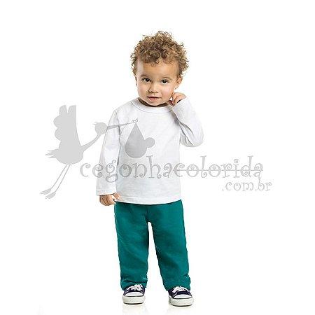 Camiseta Manga Longa Bebê Menino Básica Lisa