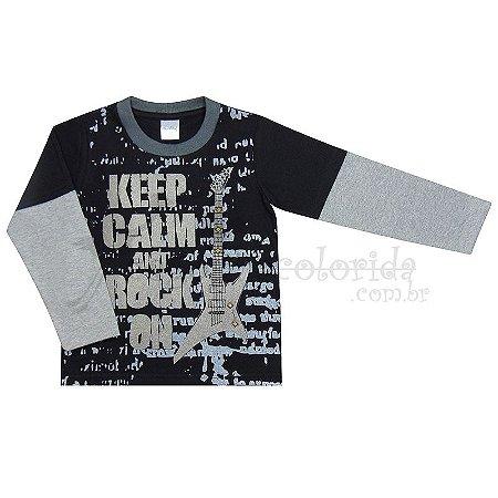 Camiseta Manga Longa Infantil Menino Keep Calm and Rock On