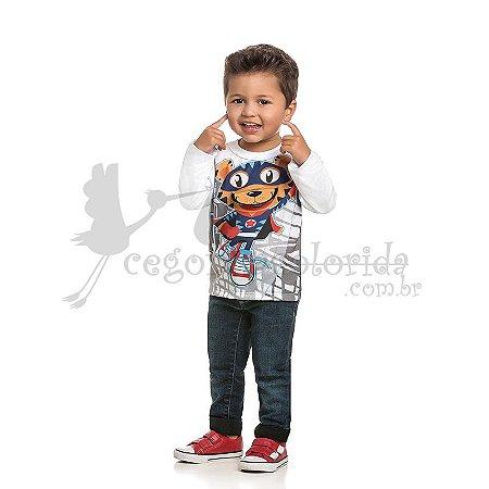 Camiseta Manga Longa Infantil Menino Super Tigre Interativa