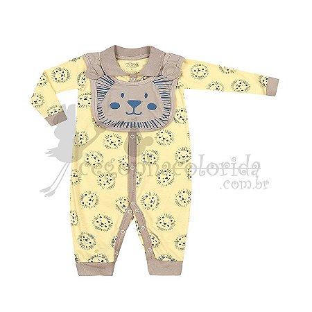 Macacão Manga Longa Bebê Menino com Babador Kiko Baby