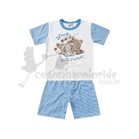 Pijama Manga Curta Infantil Menino Sleep Friends