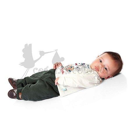 Calça Bebê Menino Lisa em Moletom Peluciado Kiko Baby