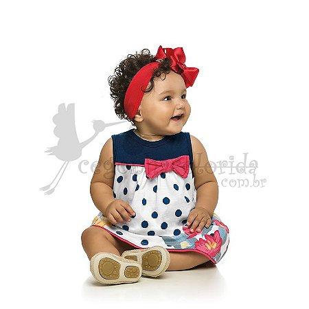 Vestido Regata Bebê Menina Poá Floral Kamylus
