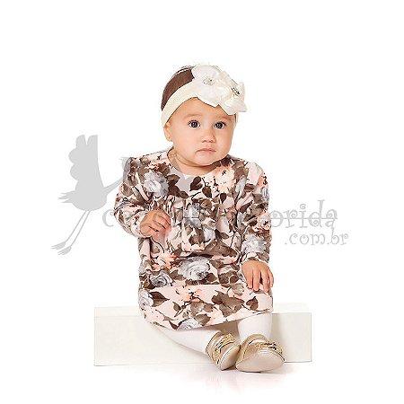 Vestido Manga Longa Floral em Plush Pettenati kiko Baby