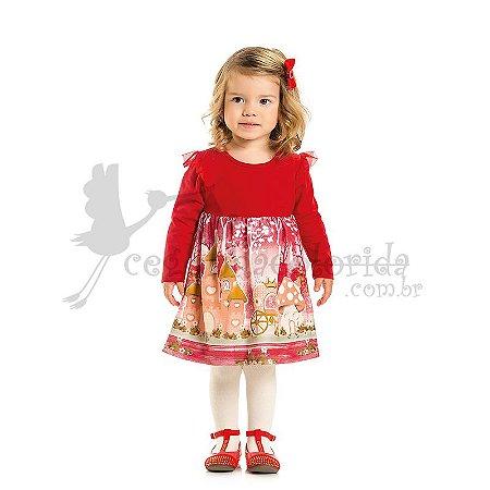 Vestido Manga Longa Infantil Pequena Princesa Kaiani