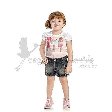 Body Manga Curta Infantil Menina Ice Cream Kaiani
