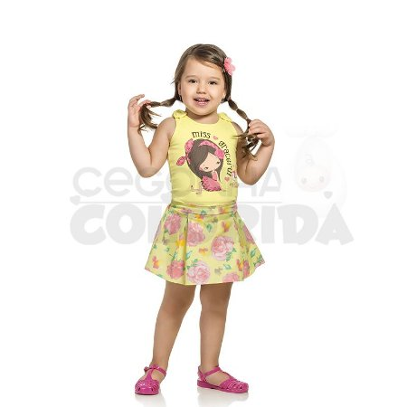 Conjunto Manga Curta Infantil Menina Charmosinho