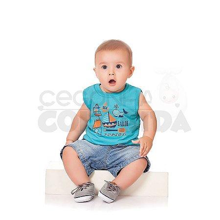 Camiseta Regata Bebê Menino Pequeno Marinheiro Kiko Baby