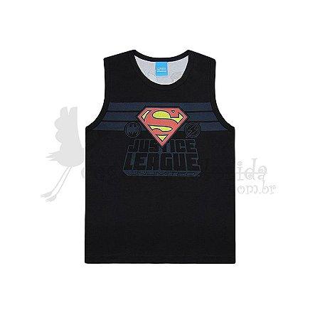 Camiseta Regata Infantil Menino Liga da Justiça