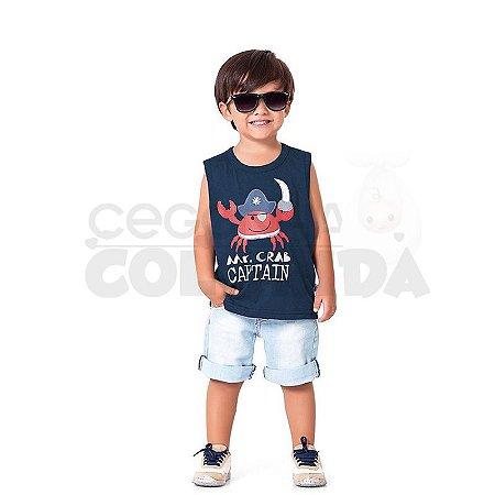 Camiseta Regata Infantil Menino Mr.Crab Captain Kiko & Kika