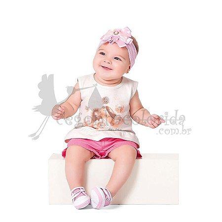 Blusinha Regata Bebê Menina Sapatilha com Strass Kiko Baby