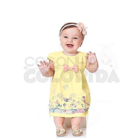 Vestido  Manga Curta Bebê Passarinhos Kiko Baby