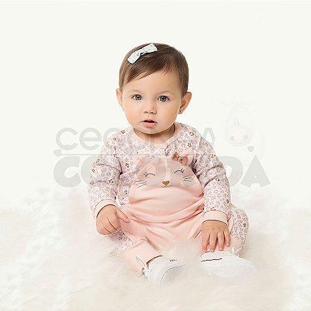 Macacão Longo Bebê Menina Gatinha Kiko Baby
