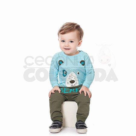 Conjunto Longo Bebê Menino Ursinho Kiko Baby