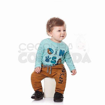 Calça Saruel Bebê Menino em Moletom Flamê Peluciado Kiko Baby
