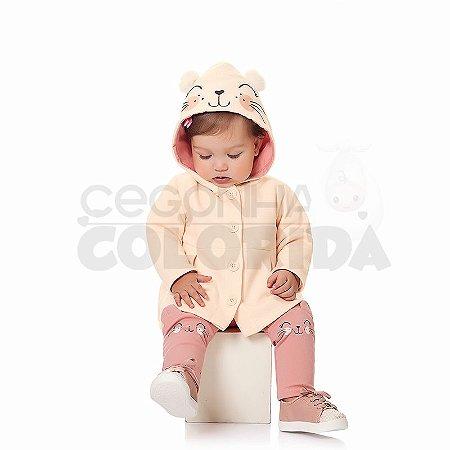Conjunto Longo Bebê Menina com Capuz Kiko Baby