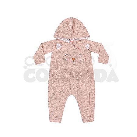 Macacão Longo Bebê Menina em Pêlo Sintético Kiko Baby