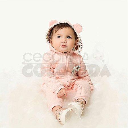 Macacão Longo Bebê Menina em Matelassê Kiko Baby