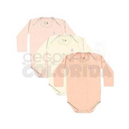 Kit Body Manga Longa Bebê Menina 3 Peças Kiko Baby