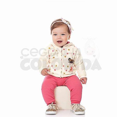 Conjunto Manga Longa Bebê Menina Bailarina em Moletom Kiko Baby