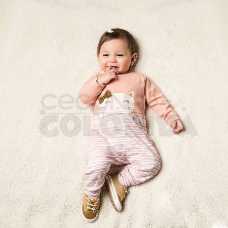 Macacão Longo Listradinho Bebê Menina Gatinha Kiko Baby