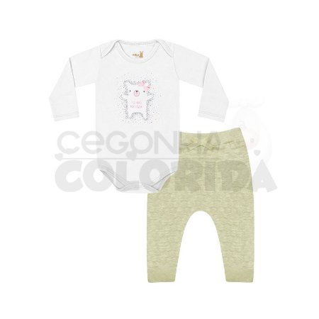 Conjunto Manga Longa Bebê Menina Body com Calça Saruel Kiko Baby