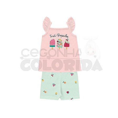 Conjunto Regata Bebê Menina Frutinhas Kiko Baby