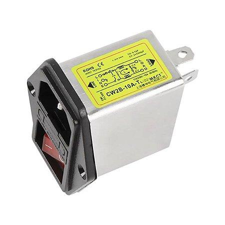 Filtro Emi 10A Tomada Interruptor E Porta Fusível - CW2B-10A-TL
